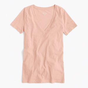 Vintage cotton V neck t shirt peach🍑